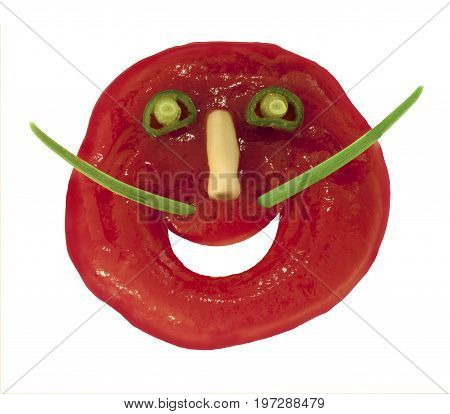 Red ketchup face eyes nose mouth vegetarian