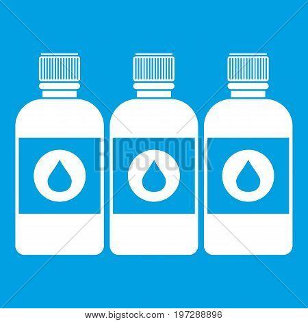 Printer ink bottles icon white isolated on blue background vector illustration