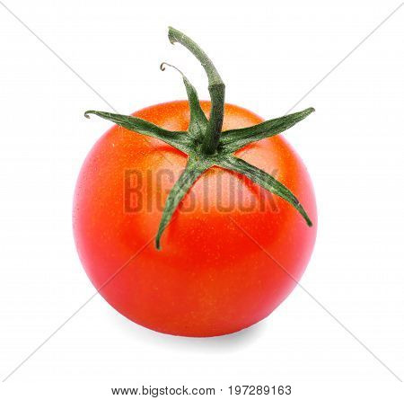 A perfectly ripe, juicy, fresh and bright red tomato with green leaves, isolated on a white background. Fresh cherry tomato. Organic, ripe and juicy tomato. Delicious and useful vegetables.