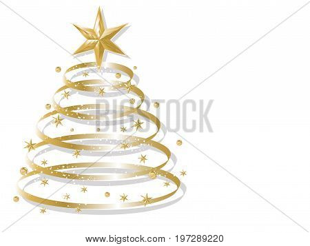 Abstract background with golden luxury christmas tree