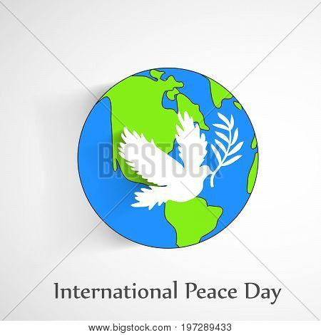 illustration of Pigeon on earth background with International Peace Day text on the occasion of International Peace Day