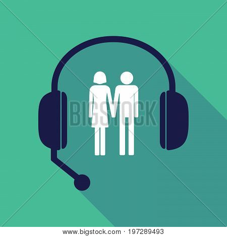 Long Shadow  Headset With A Heterosexual Couple Pictogram