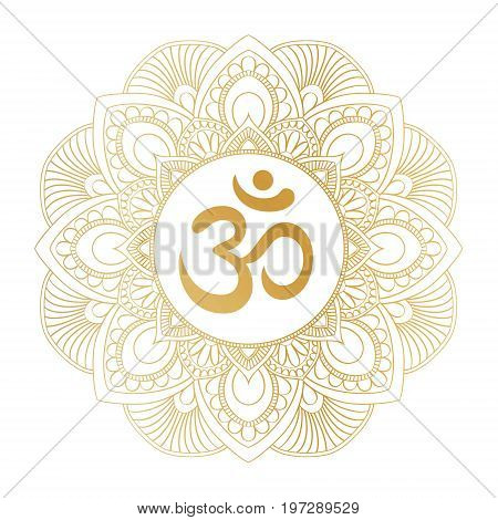 Golden Aum Om Ohm symbol in decorative round mandala ornament, perfect for t- shirt prints, posters, textile design, typography goods.