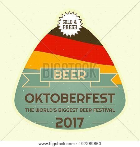 Oktoberfest Beer Festival Emblem. Retro Poster. Vector Illustration.