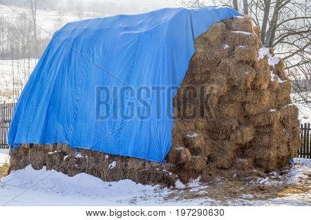Large Stack Of Straw Bales
