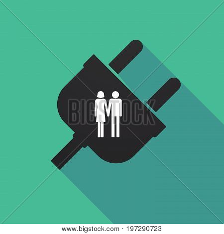 Long Shadow Plug With A Heterosexual Couple Pictogram