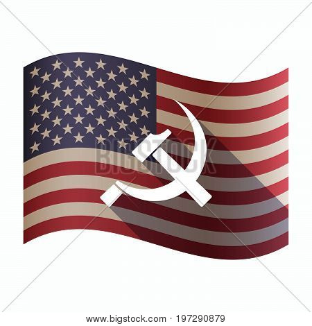 Isolated  Usa Flag With  The Communist Symbol