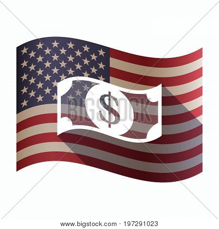 Isolated  Usa Flag With A Dollar Bank Note