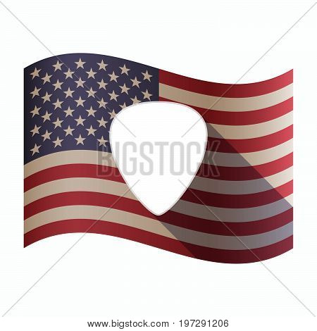 Isolated  Usa Flag With A Plectrum