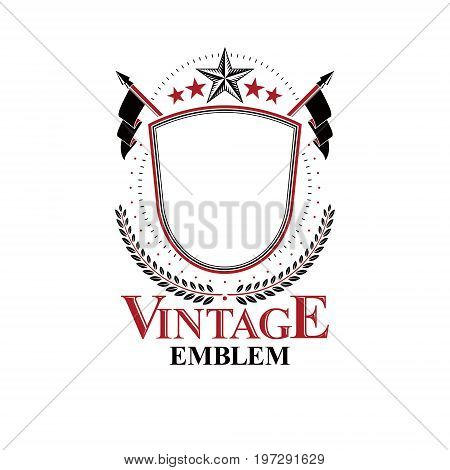 Graphic classy emblem created with blank copy space and different elements like star and flags. Heraldic Coat of Arms decorative logo isolated vector illustration.