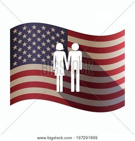 Isolated  Usa Flag With A Heterosexual Couple Pictogram