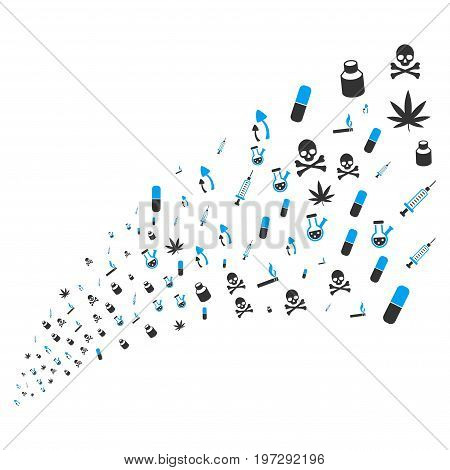 Stream of narcotic drugs icons. Vector illustration style is flat blue and gray iconic narcotic drugs symbols on a white background. Object fountain constructed from icons.