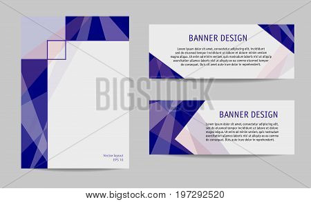 Cover and two banners layout set, dark blue, gray. Geometric abstract backgrounds with text place. Modern technology templates for brochures, booklets, leaflets, posters, presentations design. Vector EPS10