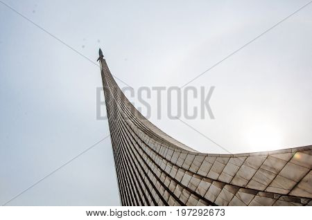 Moscow - May 5, 2017: A Closeup Side View At The Part Of The Monument To The Space Conquerors