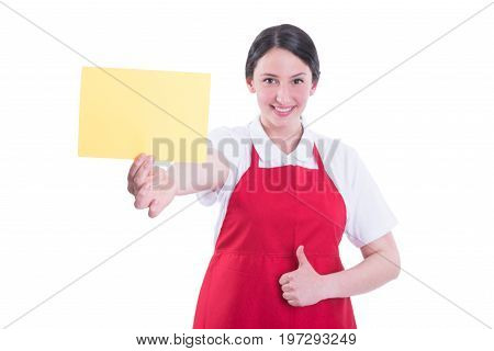 Happy Beautiful Seller Showing Blank Paper