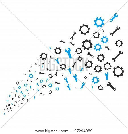 Source of setup tools symbols. Vector illustration style is flat blue and gray iconic setup tools symbols on a white background. Object fountain organized from symbols.