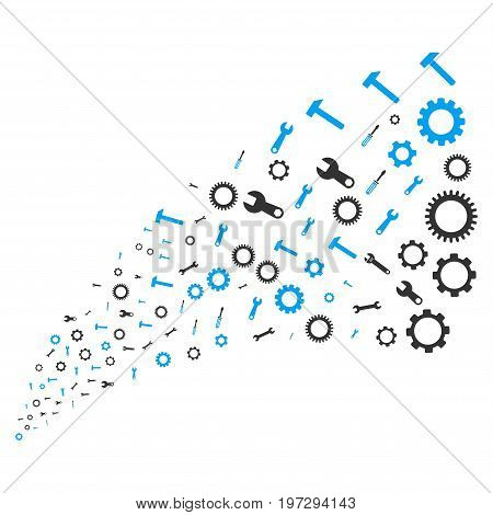 Source of setup tools icons. Vector illustration style is flat blue and gray iconic setup tools symbols on a white background. Object fountain created from icons.