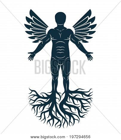 Vector graphic illustration of strong male body silhouette standing on white background and made using tree roots and bird wings. Tree of life metaphor family roots.