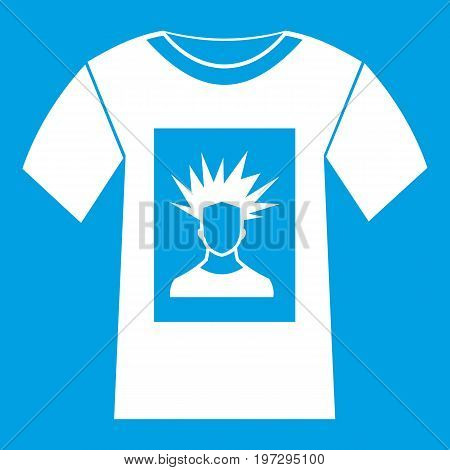 White shirt with print of man portrait icon white isolated on blue background vector illustration