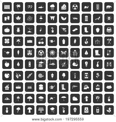 100 garden stuff icons set in black color isolated vector illustration