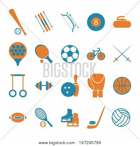Sport Icon Signs and Symbols Color Set for Web or App Mobile. Vector illustration