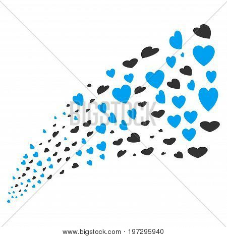 Source of valentine petals symbols. Vector illustration style is flat blue and gray iconic valentine petals symbols on a white background. Object fountain made from symbols.