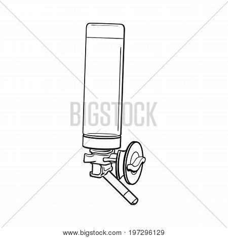 Automatic refillable drinker, can be attached to pet, cat, dog, parrot cage, crate wall, sketch vector illustration isolated on white background. Refillable, attachable drinker for pets and birds