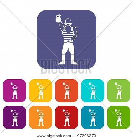 Strong man with kettlebell icons set vector illustration in flat style in colors red, blue, green, and other