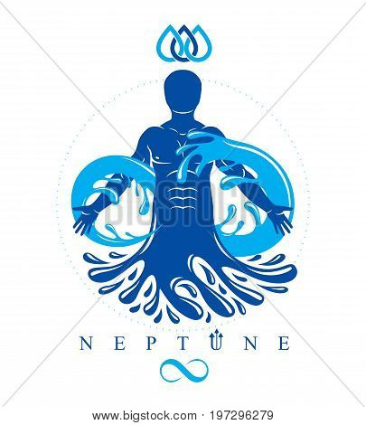 Vector graphic illustration of muscular human personality and the symbol of limitless created from water wave. Pure water as the most important resource for human activity.