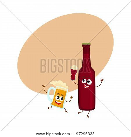 Funny beer bottle and mug characters having fun, drinking, holding glasses, cartoon vector illustration with space for text. Funny beer bottle and mug characters with smiling human faces