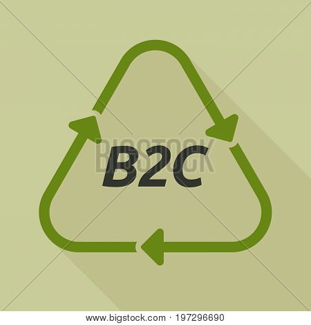Long Shadow Recycle Sign With    The Text B2C