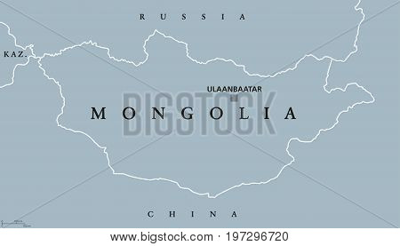 Mongolia political map with capital Ulaanbaatar. Landlocked unitary sovereign state in East Asia between Russia and China. Former Outer Mongolia. English labeling. Gray illustration. Vector.