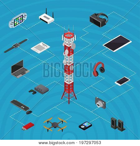 Communications Tower Mobile Phone Base and Element Set for Wireless Connections Isometric View. Vector illustration