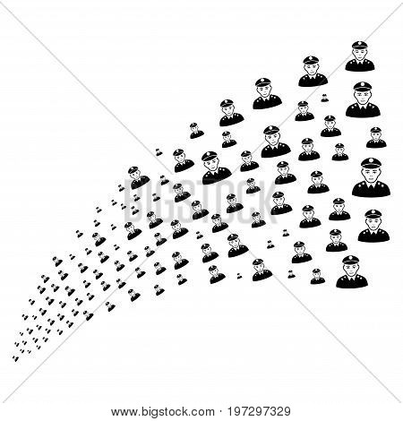 Source of army general icons. Vector illustration style is flat black iconic army general symbols on a white background. Object fountain created from design elements.