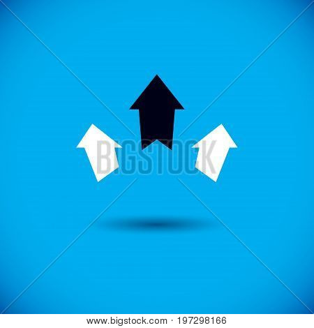Vector boost up arrow graphic design element. Company increasing concept. Corporate abstract logo.