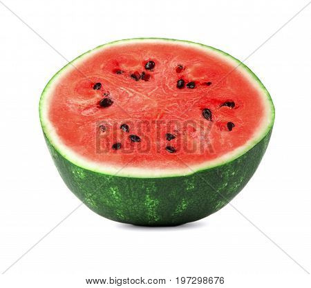 A beautiful saturated red watermelon, isolated on a white background. The raw and ripe watermelon cut in half. Refreshing, healthful and organic fruits for healthy summer cocktails and desserts.
