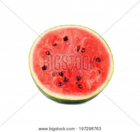 A beautiful saturated red watermelon, isolated on a white background. The raw and ripe watermelon cut in half. Refreshing, healthy and organic fruits for healthy summer cocktails and desserts.