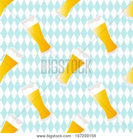 Beer seamless pattern with textured background.  Vector illustration