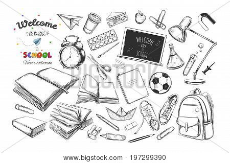 Welcome back to school collection. Vector hand drawn elements. School supplies. Books notebook copybook backpack lamp alarm clock football snickers chalkboard pencil marker eraser etc.