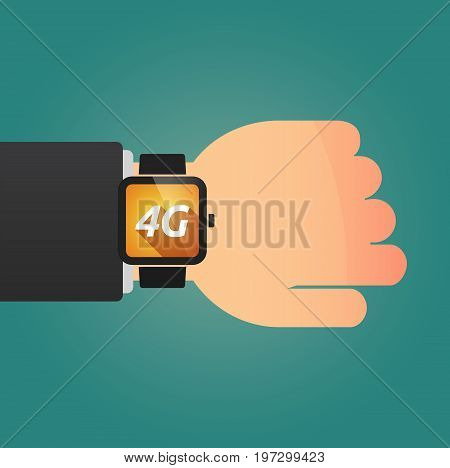 Hand With A Smart Watch And    The Text 4G