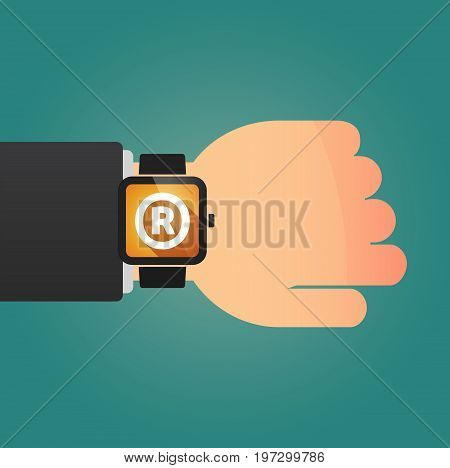 Hand With A Smart Watch And    The Registered Trademark Symbol