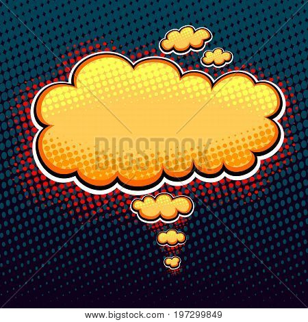 Speech bubble or cloud in pop art cartoon comic retro style with halftone bright in  gold on dark background for different inscription or banners