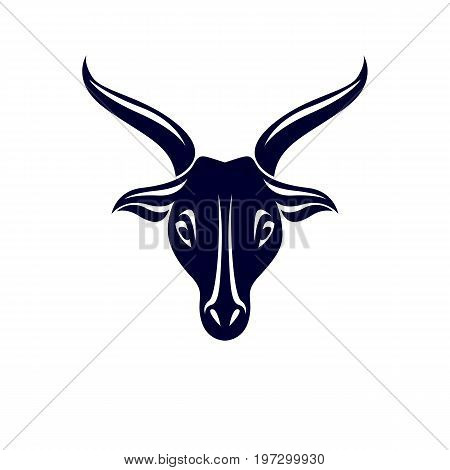 Vector graphic emblem of horned goat head as the illustration of Lucifer.
