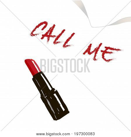 Lipstick And The Words Call Me. Lipstick And Words Call Me On A White Napkin .vector