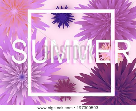 Summer background banner with beautiful colorful flowers.