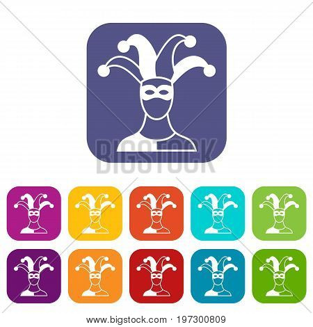 Jester icons set vector illustration in flat style in colors red, blue, green, and other