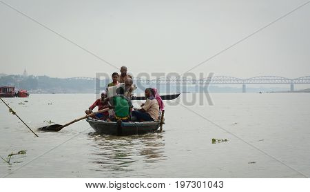 Tourist Boat On Ganges River In Varanasi, India