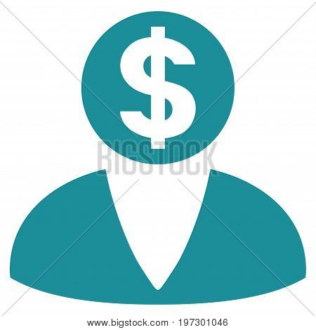 Financier vector icon. Flat soft blue symbol. Pictogram is isolated on a white background. Designed for web and software interfaces.