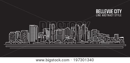 Cityscape Building Line art Vector Illustration design - Bellevue city