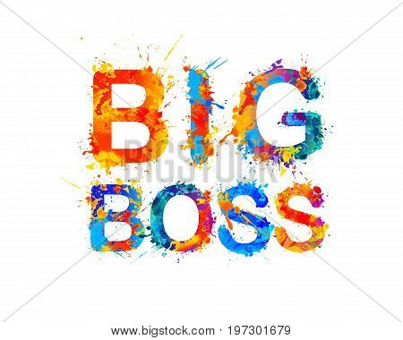 Big boss. Splash paint vector watercolor inscription
